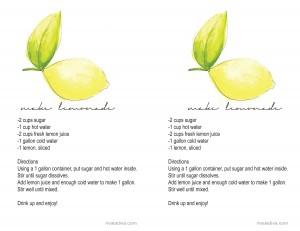 Make Lemonade recipe Card