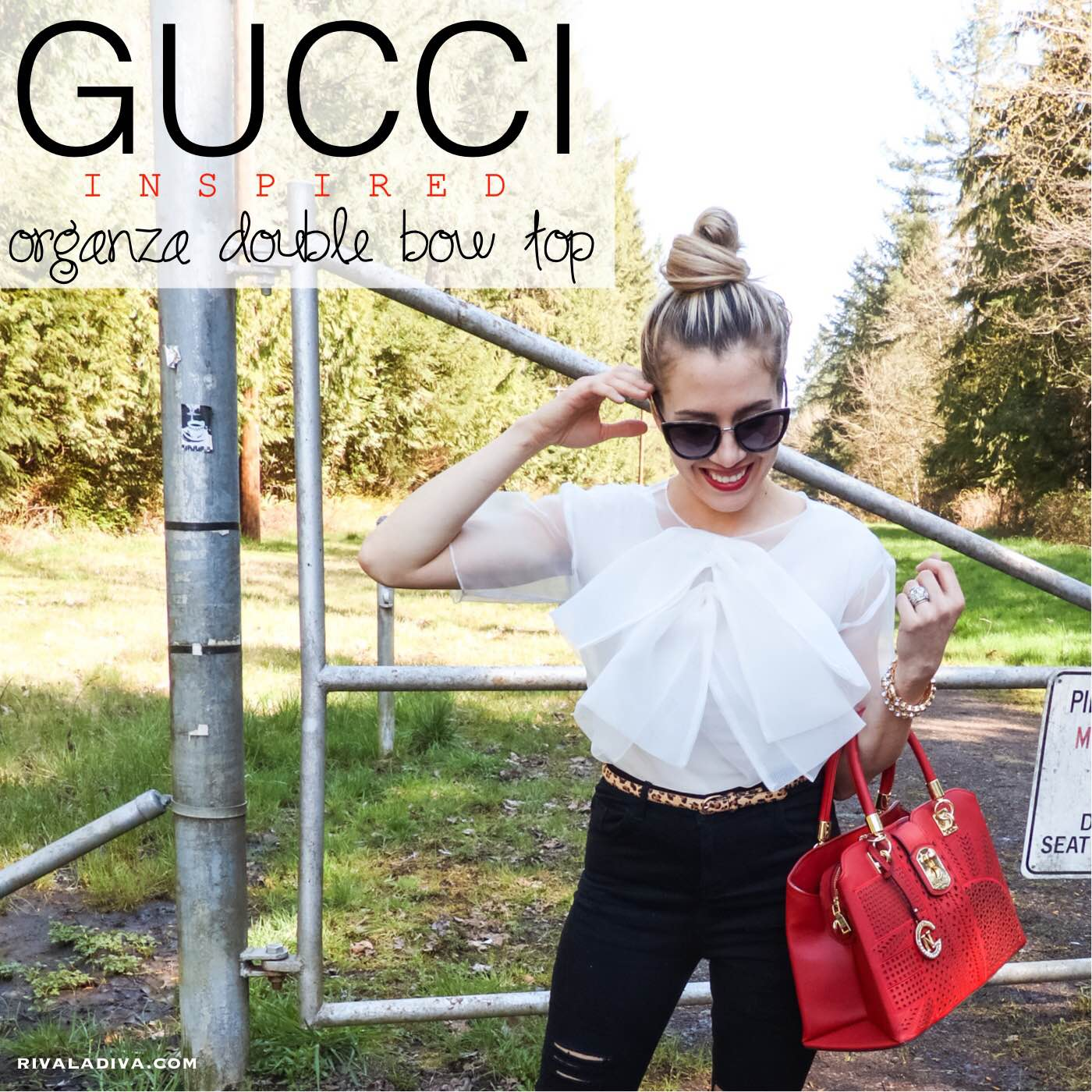 Gucci Organza Double Bow top