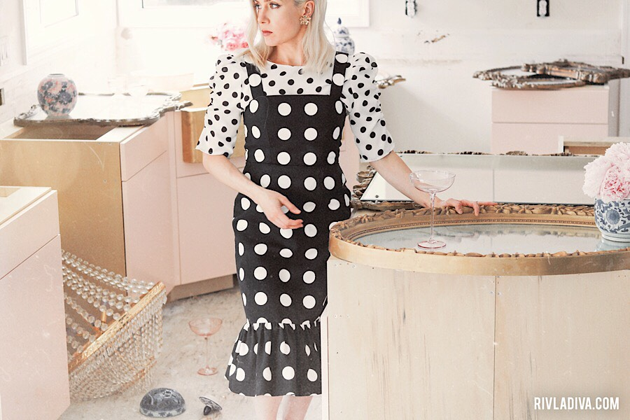 A Beautiful Mess. Unfinished vintage glamour pink kitchen inspo. Wearing polka dot dress.