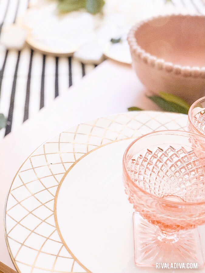 Pink Depression Era glassware. Pink Ceramic Bowl. Blush Inspired kitchen.