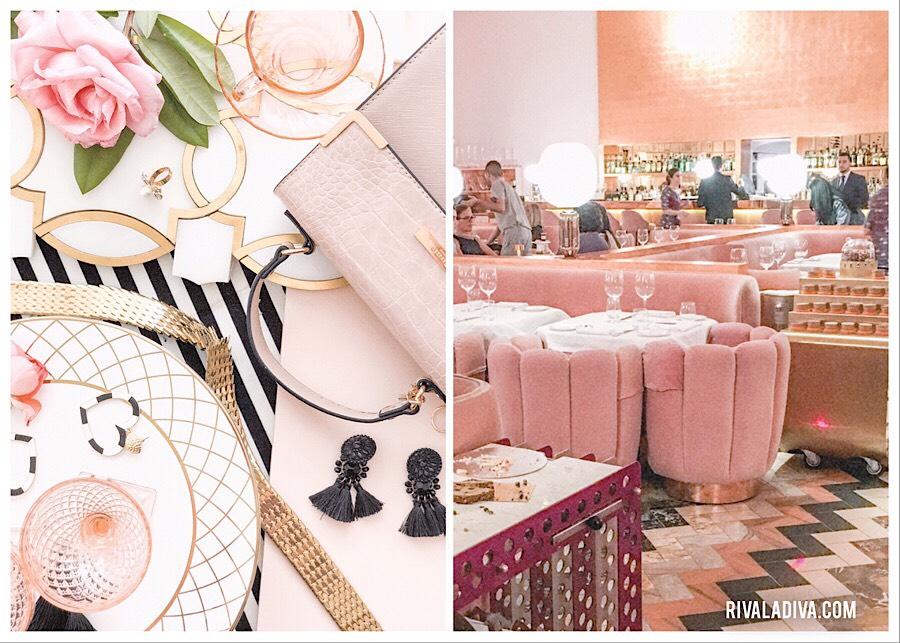 Sketch London pink tea room. Pink chairs. Pink glass wear. Blush fashion.