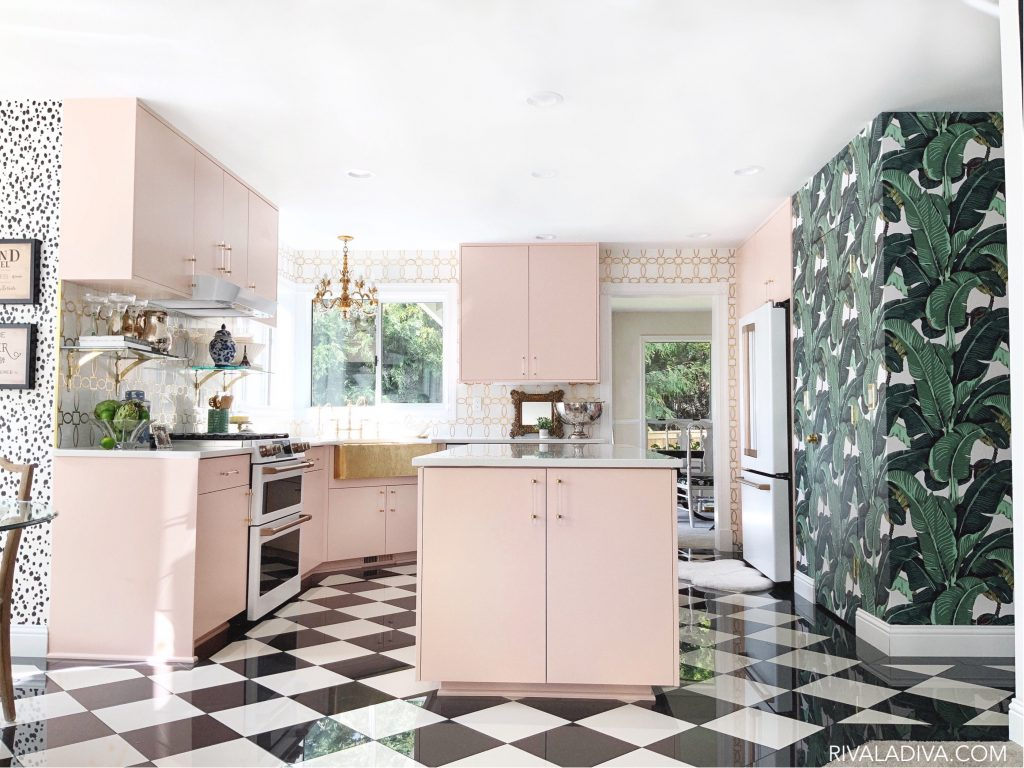 Glamorous Vintage Blush Pink Kitchen. Beverly Hills wallpaper and black and white floors.