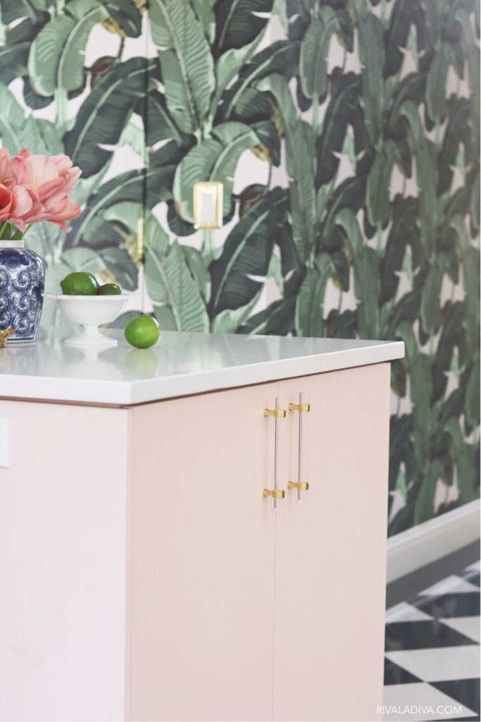 Beverly Hills Martinique wall inside a blush pink kithcne. Beverly Hills kitchen inspiration.