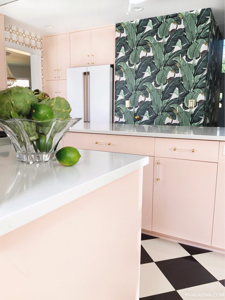 Beverly Hills inspired Palm Leaf kitchen with Blush pink caninets and Cafe 23.1 cu. ft. Smart French Door Refrigerator in Matte White