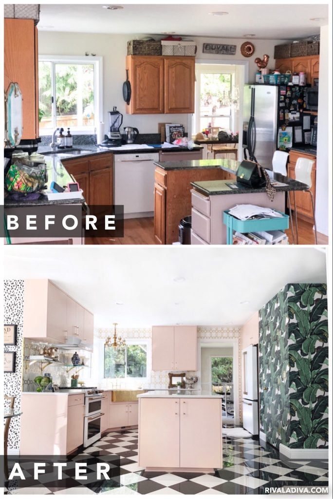 Before and after. Kitchen Inspiration REVEAL at RivaLaDiva.com. glam Kitchen