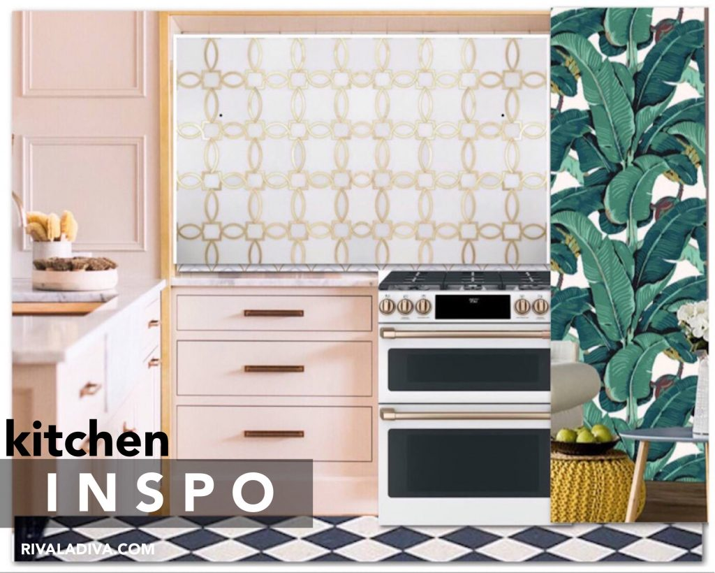 Blush Glam kitchen inspiration. Beverly Hills wallpaper. Checker floors. GE Cafe white gas range