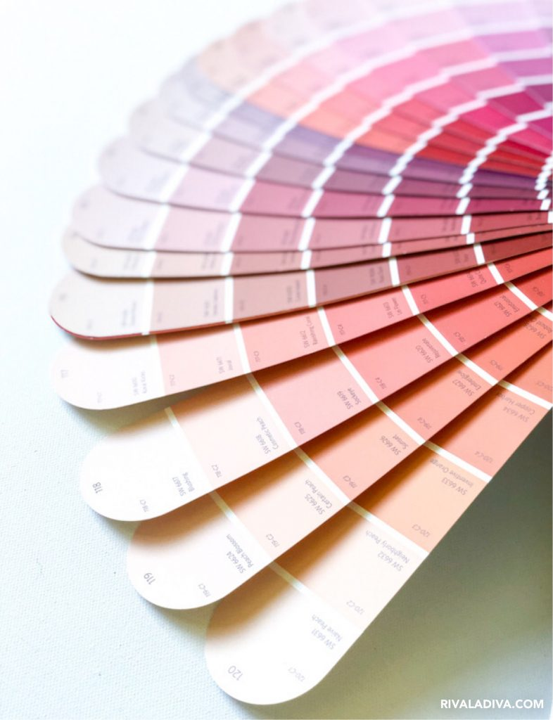 "Find perfect pink at Sherwin Williams ""blushing"" Pink Color sample"